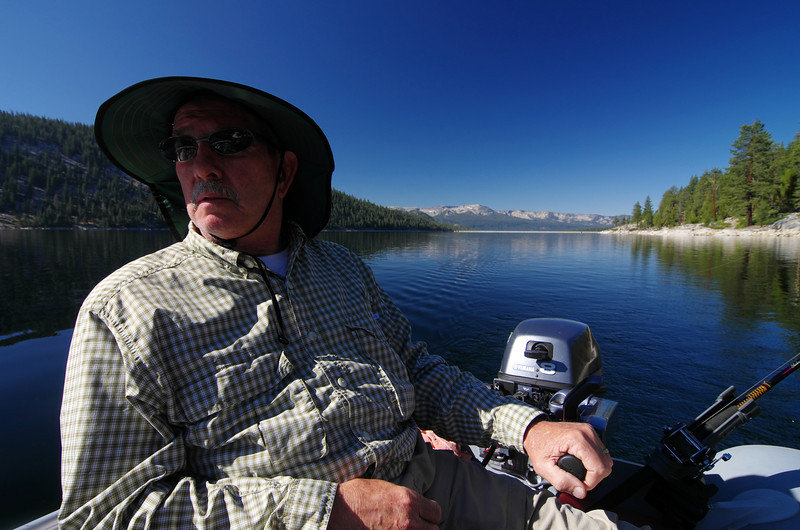 My Dad looks back towards the Headwaters as we troll along the North side of the Lake heading NE.