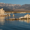 Reflections of tufas on Mono Lake, against a backdrop of the eastern Sierras.