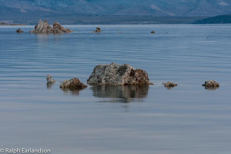 Mono Lake's blue water just before sunrise.