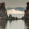 Tufa formations and morning mist on Mono Lake.