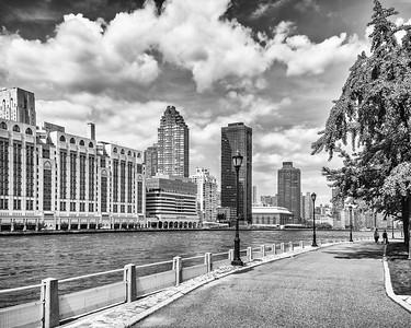 RI river walk, East River, and Hospitals , mono