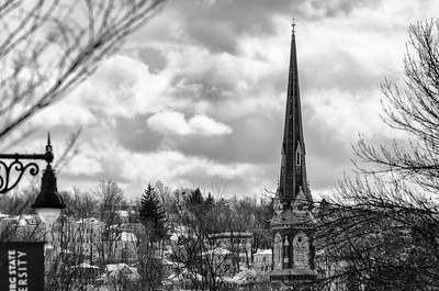 Church spire, Fitchburg, mono