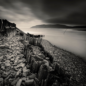Old groyne, Porlock Weir, Exmoor National Park, Somerset, UK