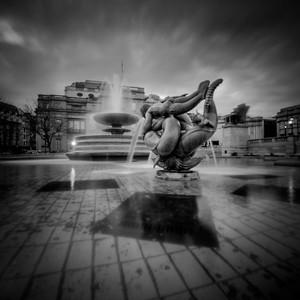 Fountain at Trafalgar Square in London