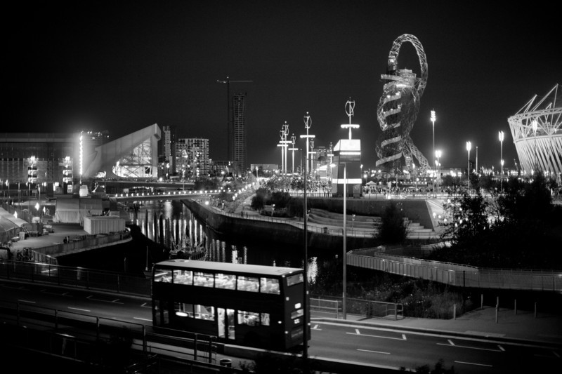 The Olympic Village and London bus.