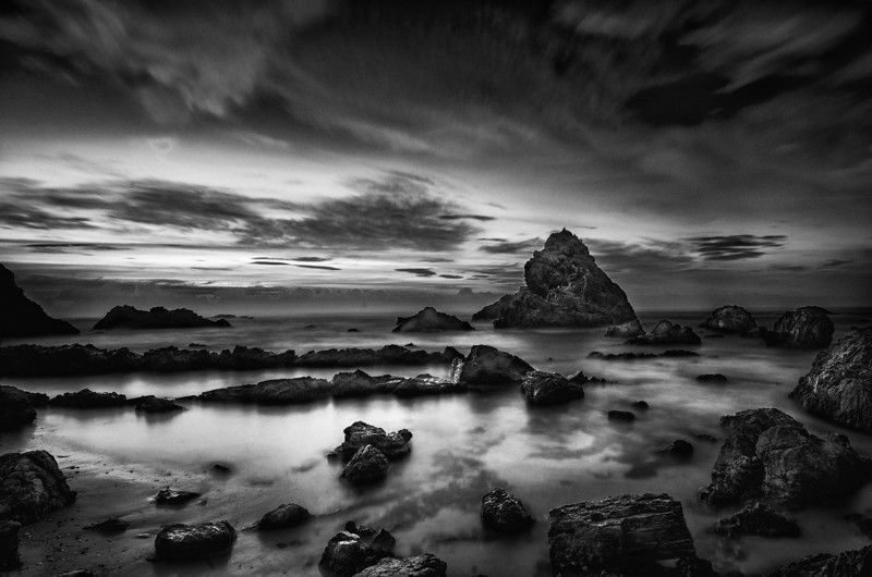 Pre-Dawn Coast BW