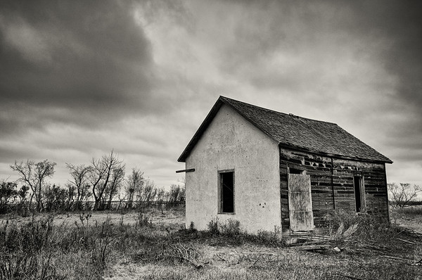 Abandoned farm building - monochrome