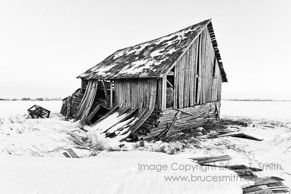 Abandoned farm building - high contrast monochrome