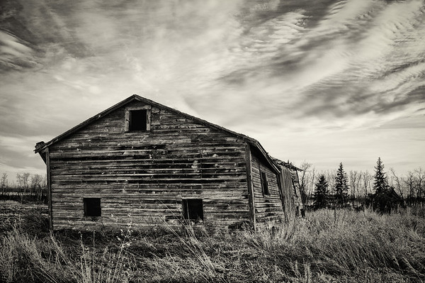 Abandoned farm building - monochrome