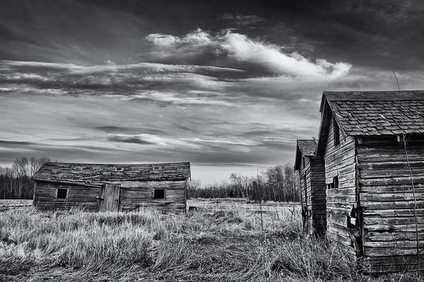 Moody abandoned farm - monochrome