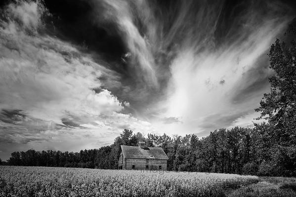 Barn under a moody sky