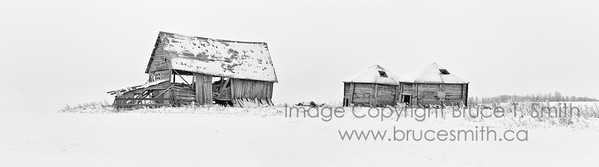 Farm buildings in the frost