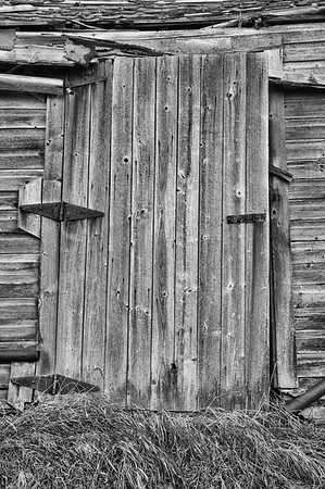 Old wooden barn door - monochrome