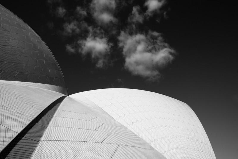Concert Hall roof detail, Sydney Opera House (b&w version).