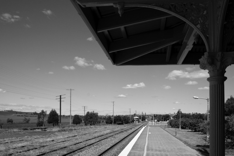 Looking east. Harden Railway Station, 3.15pm, Thursday 23 October, 2008. Harden, New South Wales.