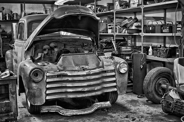 Old truck in the shop