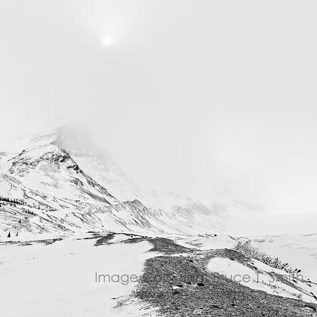 Athabasca Glacier, Alberta, on a moody winter day