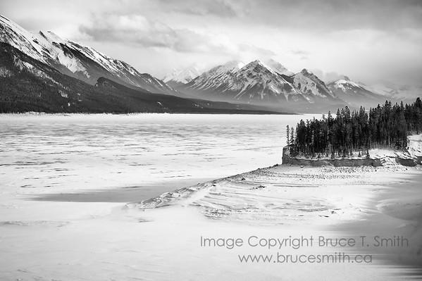 Abraham Lake in winter time