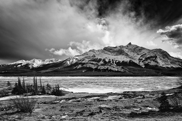 Winter view of the Rocky Mountains near Abraham Lake, Alberta