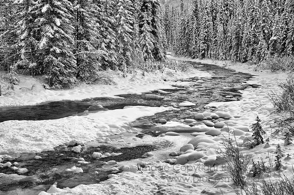 Poboktan Creek, Jasper National Park, in early winter.
