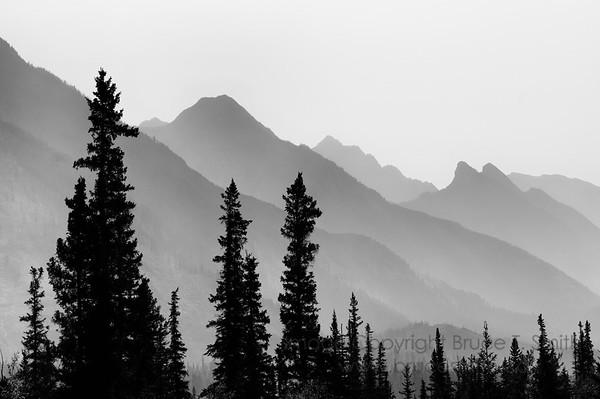 Hazy mountain silhouette