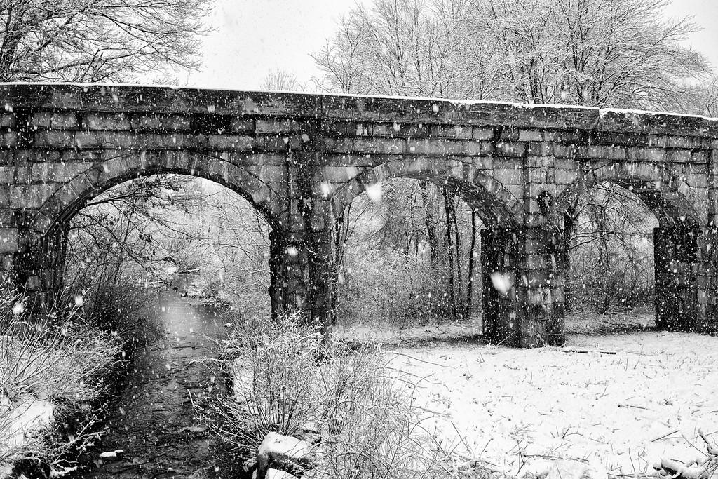 Snowfall at the Bridge