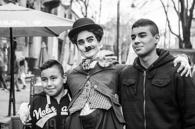 Charlie Chaplin look-alike at La Boca, Buenos Aires, Argentina