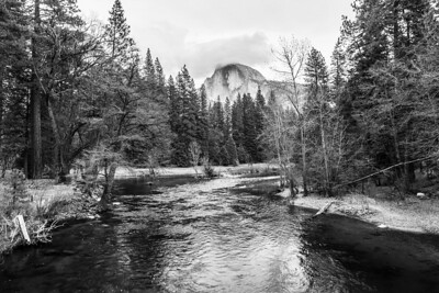 Merced River and Half Dome. Sentinel Bridge - Yosemite National Park
