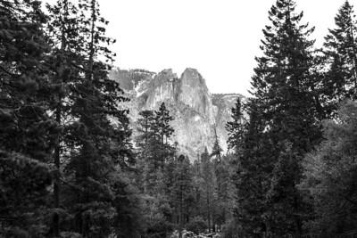 Sentinel Dome. Lower Yosemite Fall - Yosemite National Park