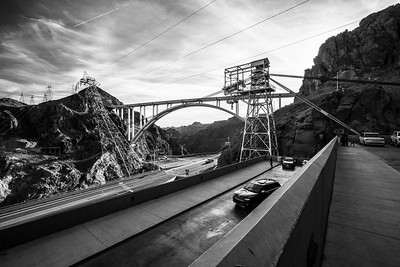 Mike O'Callaghan - Pat Tillman Memorial Bridge. Parking Complex at Hoover Dam Mercantile. Hoover Dam. Nevada Side. Lake Mead National Recreation Area - NV, AZ