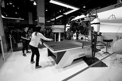 Ping Pong Robot. OMRON Booth. CES (Consumer Electronics Show) 2019 - Las Vegas, NV, USA