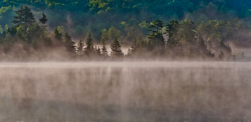 Morning fog on Spruce Knob Lake, Monongahela National Forest, West Virginia.