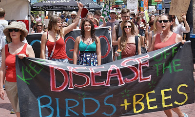 Young women with large banner about GMOs, birds and bees, large number of demonstrators marching behind them.