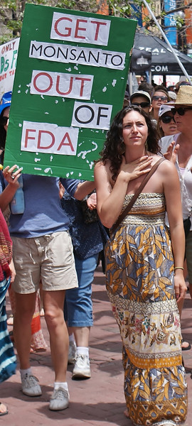 Demonstrators with sign about Monsanto and the FDA, woman protester in front of him.