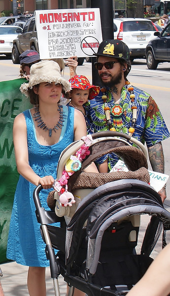 Woman pushing baby carriage, man carrying small child next to her, anti-monsanto sign in the background.