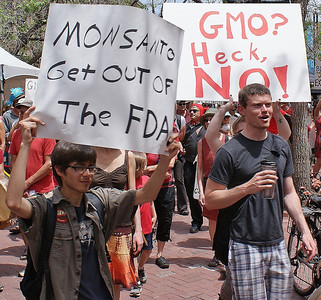 Young man marches with sign about Monsanto and the FDA, other protesters behind him.