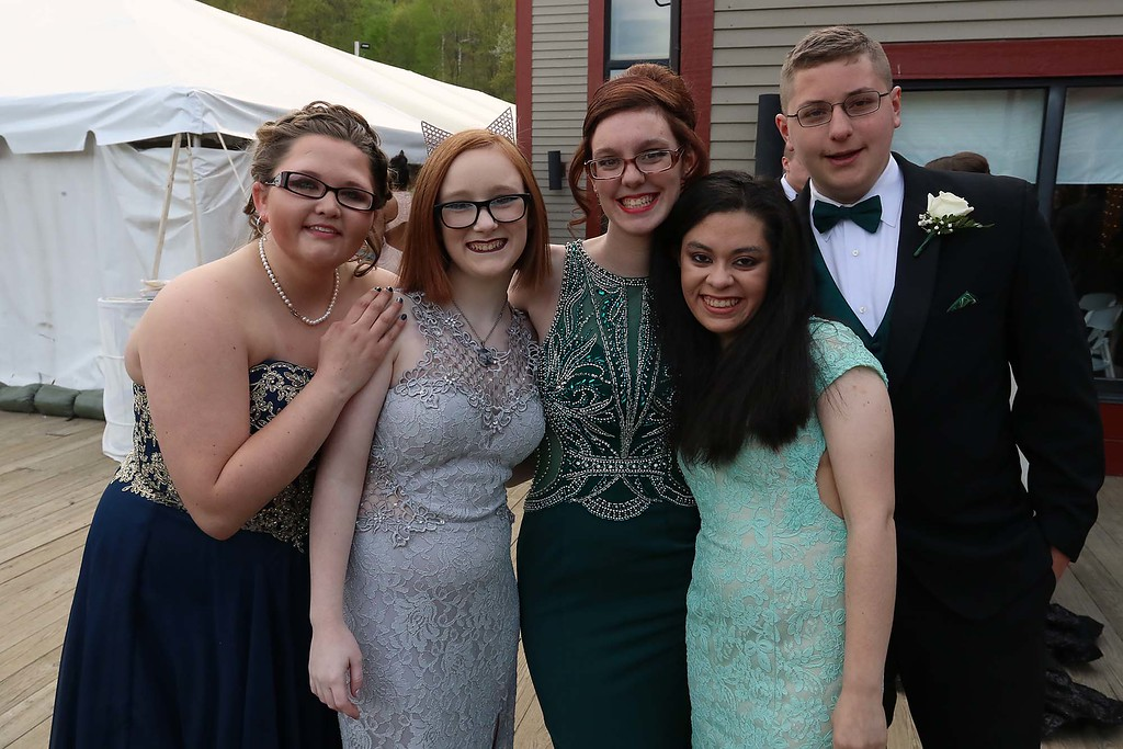 . Montachusett Regional Vocational Technical School had their prom at Wachusett Mountain in Princeton on Friday night, May 11, 2018. From left is students Jade Bailey from Athol, Jasmin Guislain from templeton, Elise Saalfrank from Athol, Maya bastian from Sterling and Logan Wing from Athol. SENTINEL & ENTERPRISE/JOHN LOVE
