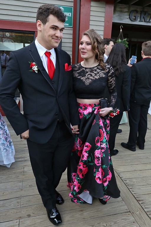 . Montachusett Regional Vocational Technical School had their prom at Wachusett Mountain in Princeton on Friday night, May 11, 2018. Students Aaron McCubrey from Sterling and Ciara Rose Hale from Fitchburg enjoy themselves at the prom. SENTINEL & ENTERPRISE/JOHN LOVE