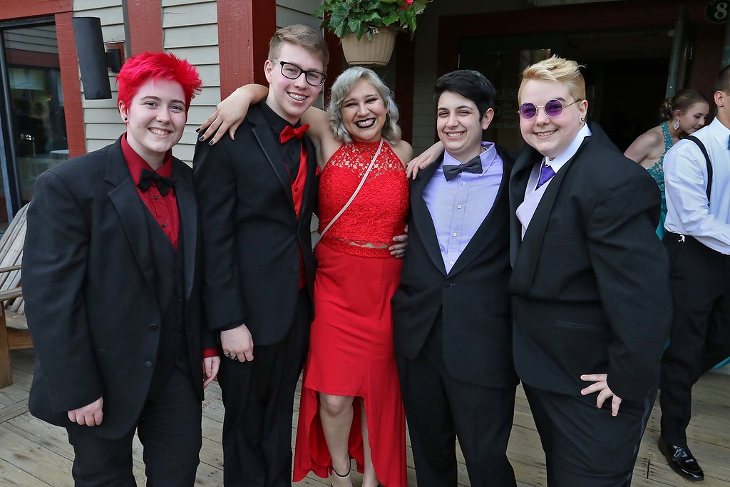 . Montachusett Regional Vocational Technical School had their prom at Wachusett Mountain in Princeton on Friday night, May 11, 2018. From left is students Serenity Snow from Fitchburg, tristan Blair from Sterling, Xan Sousa from Winchendon, Robin Garcia from Fitchburg and Kipper Prouty from Winchendon. SENTINEL & ENTERPRISE/JOHN LOVE