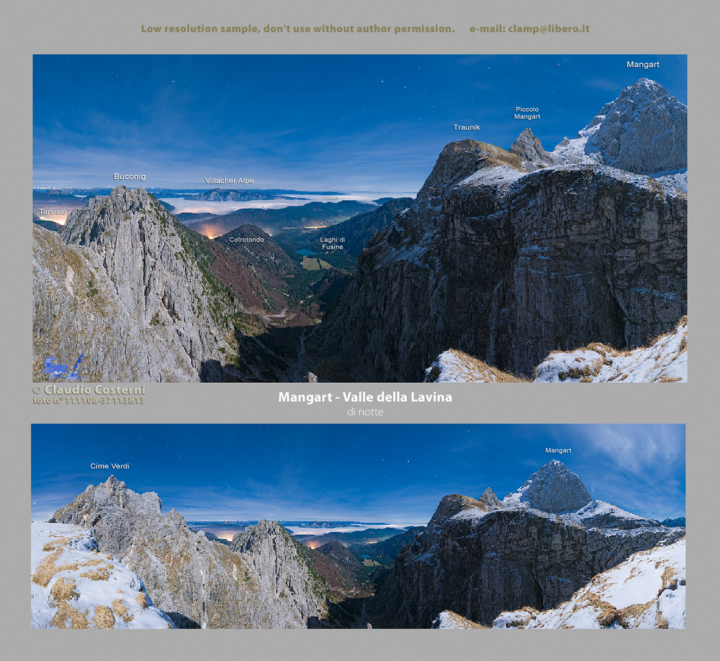Il Mangart notturno con l'aiuto della luce della luna. In lontananza nel fondovalle si vedono i 2 laghetti di Fusine e, più in là, il territorio austriaco parzialmente coperto da un mare di nubi con le luci delle città che lo colorano di rosso.   Ho usato questa panoramica per la copertina del mio calendario Alpi orientali e Dolomiti 2010 che potete consultare aprendo l'omonima cartella:  (http://www.alpinow.com/PRINTS/Calendario-Alpi-orientali-e/11210338_Ggjze#783779031_M2XfC  Foto Claudio Costerni n. 111108-37113873
