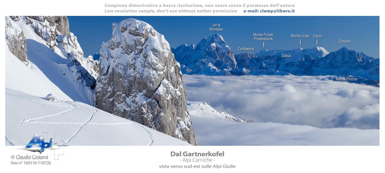 Jof di Montasio e Gruppo del Canin (Alpi Giulie) visti dal Gartnerkofel  (Alpi Carniche)  Foto Claudio Costerni n. 160110-710726