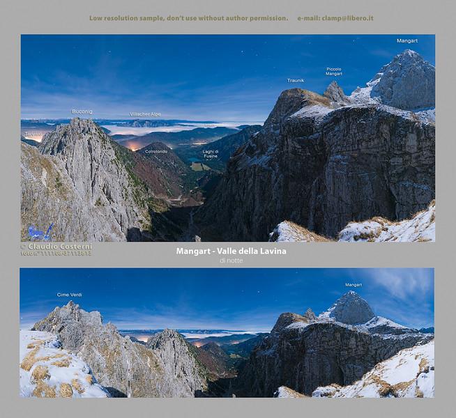 """Il Mangart notturno con l'aiuto della luce della luna.<br /> In lontananza nel fondovalle si vedono i 2 laghetti di Fusine e, più in là, il territorio austriaco parzialmente coperto da un mare di nubi con le luci delle città che lo colorano di rosso.  <br /> Ho usato questa panoramica per la copertina del mio calendario Alpi orientali e Dolomiti 2010 che potete consultare aprendo l'omonima cartella: <br />  <a href=""""http://www.alpinow.com/PRINTS/Calendario-Alpi-orientali-e/11210338_Ggjze#783779031_M2XfC"""">http://www.alpinow.com/PRINTS/Calendario-Alpi-orientali-e/11210338_Ggjze#783779031_M2XfC</a><br /> <br /> Foto Claudio Costerni n. 111108-37113873"""