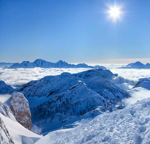 Dal Gartnerkofel mare di nubi verso SO 160110-684380