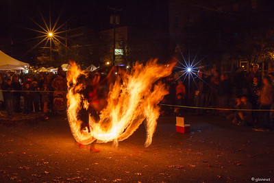 Fire Spinner & People, 2012 Pumpkinfest, Turners Falls, MA