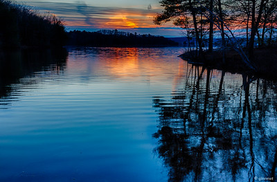 Barton Cove Sunset, Looking toward Turners Falls from Gill, MA