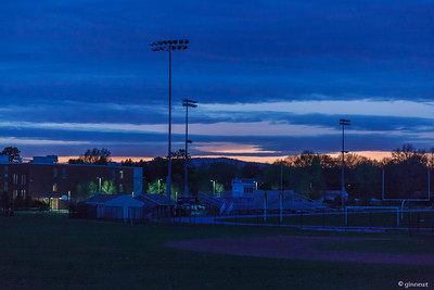 Sunset at Turners Falls High School. Turners Falls, MA