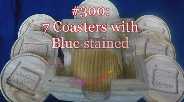 VIDEO: #300: 7 Coasters with Blue stained pine holder ($35)
