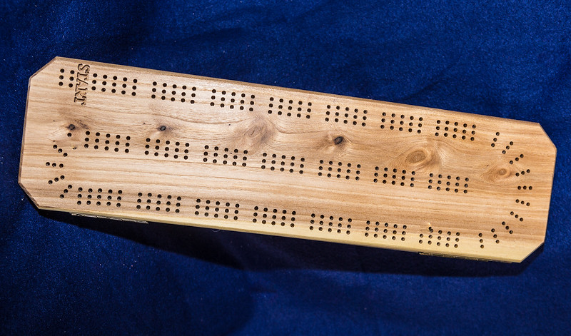 Item # 101  Straight Chamfered, Elm & Blue Pine Cribbage Board $45