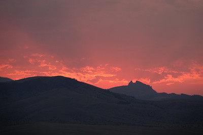 Sunset  over Chimney Rock. Paradise Valley MT