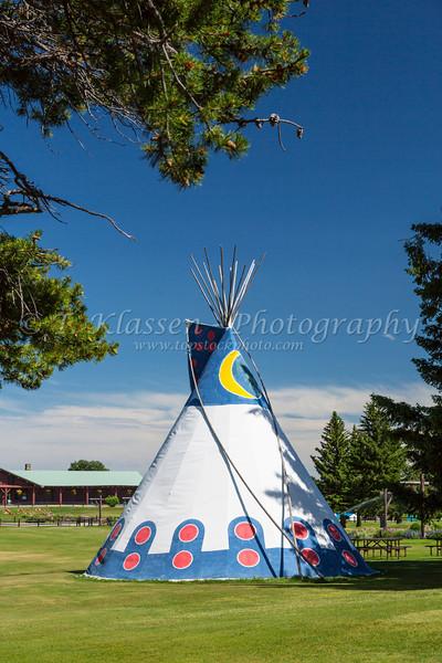 A native aboriginal teepee at the Glacier Park Lodge in East Glacier, Montana, USA.
